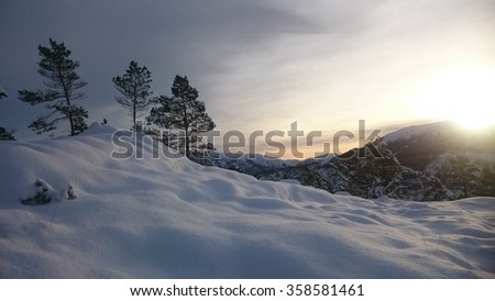 A nice winter evening in Norway - stock photo