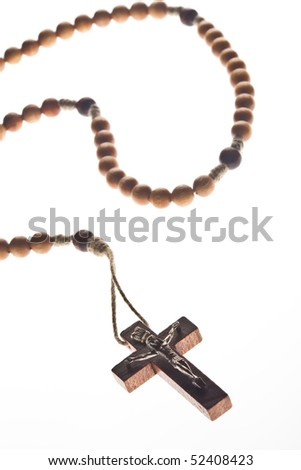 a nice wooden chaplet with brown pearls - stock photo