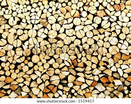 A nicely stored stock of cut wood - resource for a long winter. Great for backgrounds and wallpapers.