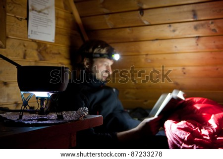 A night in a shelter in Sweden - stock photo