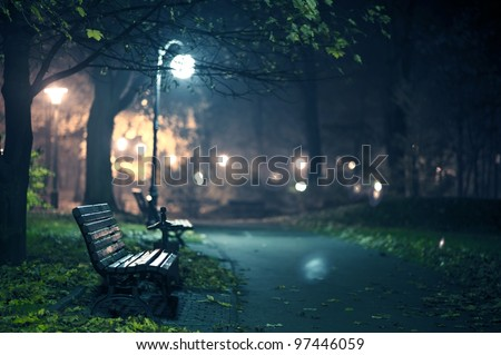 A Night in the Park. Late Autumn Night in the Park. Wood Benches and Park Alley. Horizontal Photography. Central Europe - stock photo
