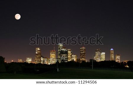 a night panoramic of downtown houston - stock photo