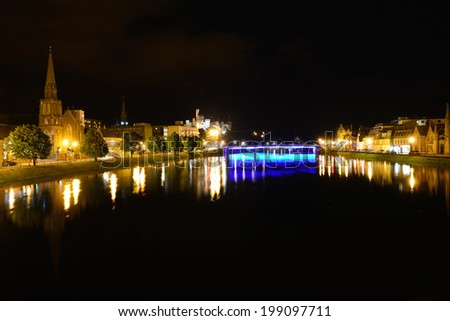 A night river in Inverness - stock photo