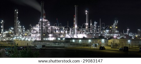 A Night Shot Of An Refining Oil Company