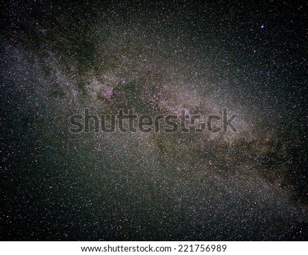 A night sky full of star and visible milky way - stock photo