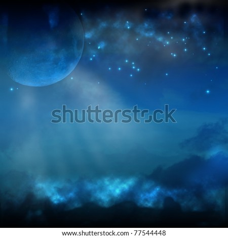 A Night Sky with Moon and Stars - stock photo