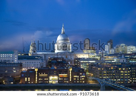 A night time view of St. Paul's cathedral, London.