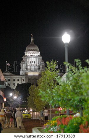 A night time view of the capital building in Providence Rhode Island. - stock photo
