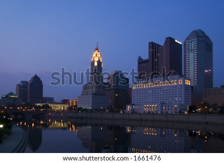 A night view along the Scioto River of Columbus, Ohio.