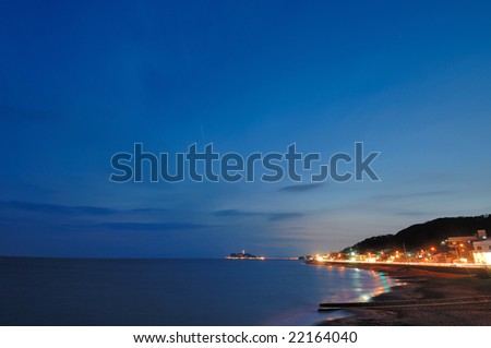 A night view and the sky of the evening - stock photo