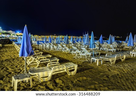 A night view at one shore in Cannes. France - stock photo