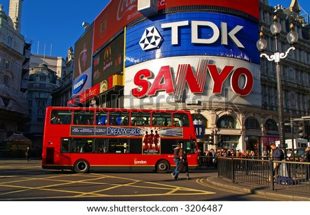 A night view of the Piccadilly Circus in London, England - stock photo