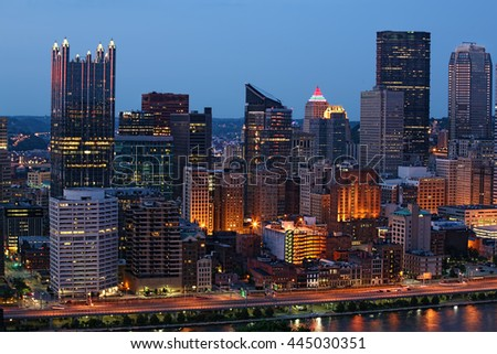 A Night view of the Pittsburgh city center - stock photo