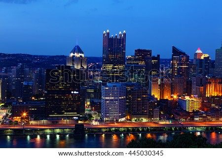 A Night view of the Pittsburgh, Pennsylvania skyline - stock photo