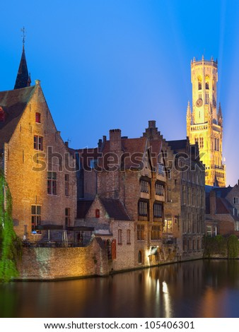 A night view on Belfort over the Dijver river in Bruges. GPS information is in the file