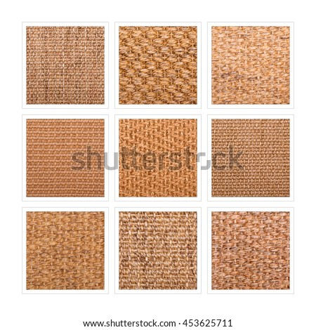 A nine square collage of sisal flooring samples showing a variety of weaves and patterns.  - stock photo