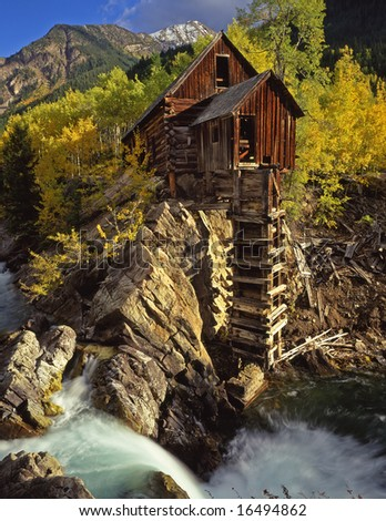 A nineteenth century silver mill, in Colorado, photographed during the autumn season. - stock photo