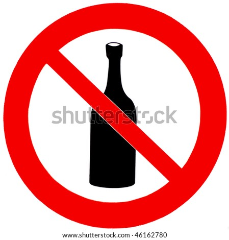 A no drinking sign isolated on white - stock photo