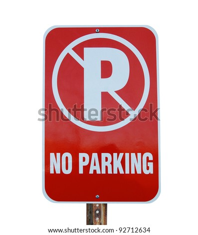 A No Parking sign isolated white - stock photo