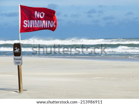 A no swimming danger flag at the beach