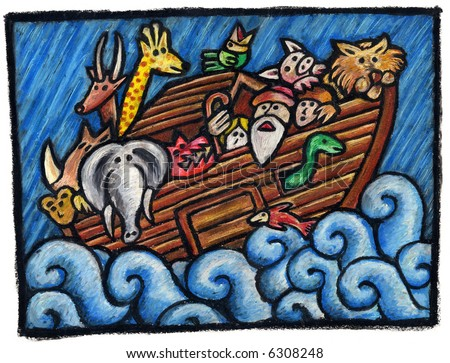 A  Noah's Ark Illustration: Some Noah's Animals are waiting for the end of the Rain  Technique: oil pastels on paper.