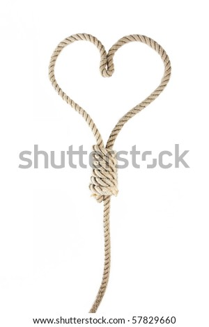 a noose in the shape of heart isolated on white - stock photo