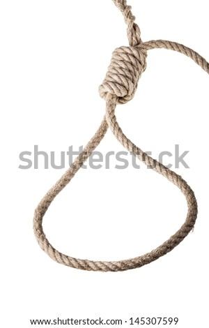 a noose made with a hemp rope isolated over white background - stock photo