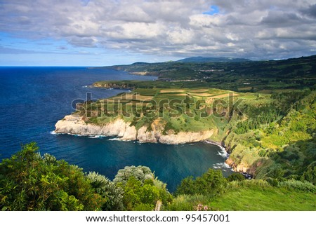A northern coast line of the island Sao Miguel, Azores - stock photo