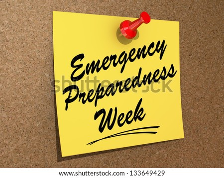 "A note pinned to a cork board with the text ""Emergency Preparedness Week"" - stock photo"