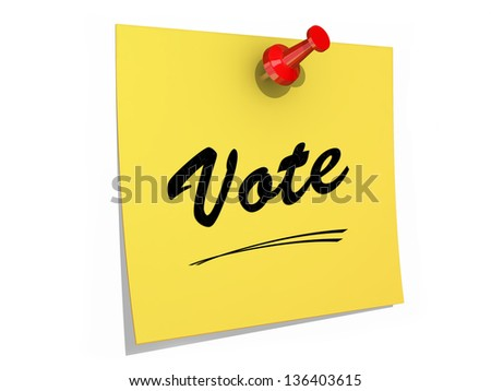 A note pinned to a white background with the text Vote.