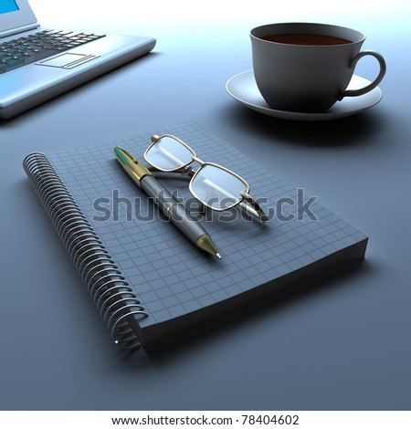 A notebook and a cup of coffee and computer. - stock photo
