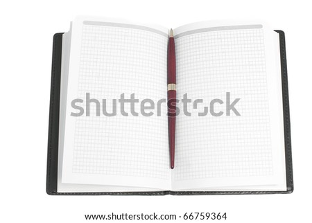 a notebook and pen,  isolated on white - stock photo