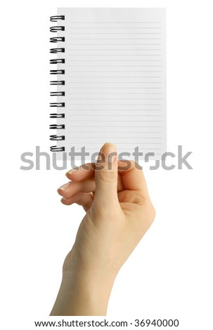 a notebook in a hand on the white