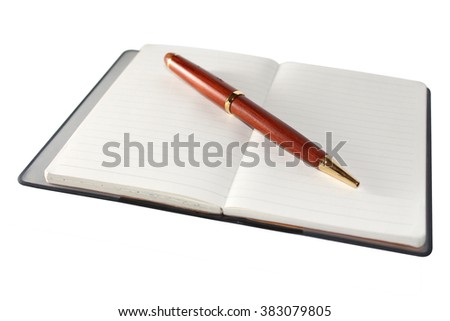 A notebook is a small book or binder of paper pages, often ruled, used for purposes such as recording notes or memoranda, writing, drawing, or scrapbooking. - stock photo