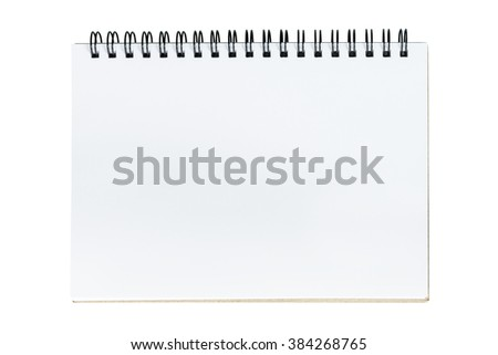 A notebook page is open on isolated white background.