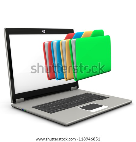A notebook with multicolored folders. White background.