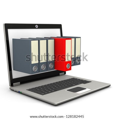 A notebook with six grey folders and one red folder. - stock photo