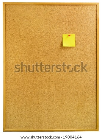 A notice board with a yellow note. - stock photo