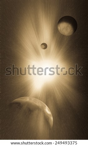 A nova is a cataclysmic nuclear explosion on a white dwarf.Image of earth planet. Elements of this image are furnished by NASA - stock photo