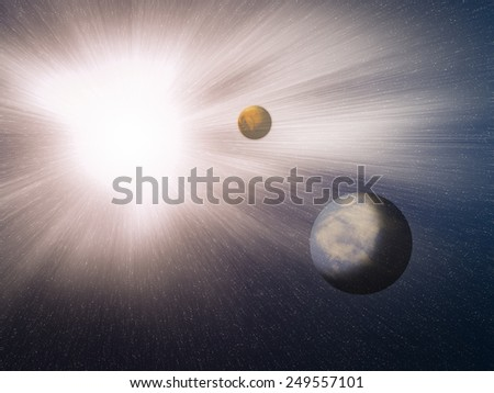 A nova is a cataclysmic nuclear explosion on a white dwarf.Image of earth planet. Elements of this image are furnished by NASA. - stock photo