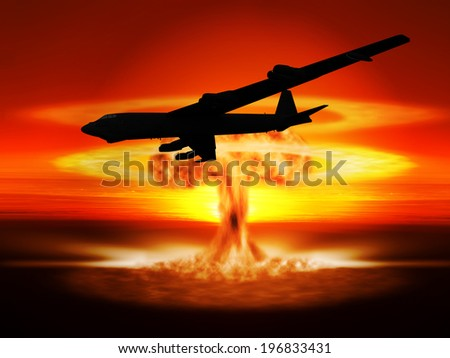 A nuclear explosion and the bomber aircraft that dropped it. (Artist impression) - stock photo