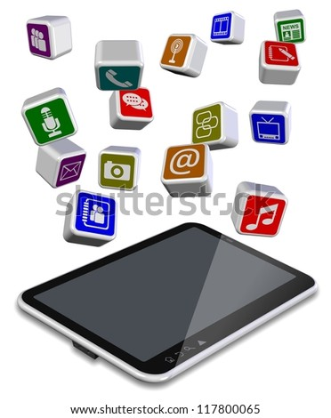 A number of different application icons flying above tablet PC / Tablet PC apps - stock photo