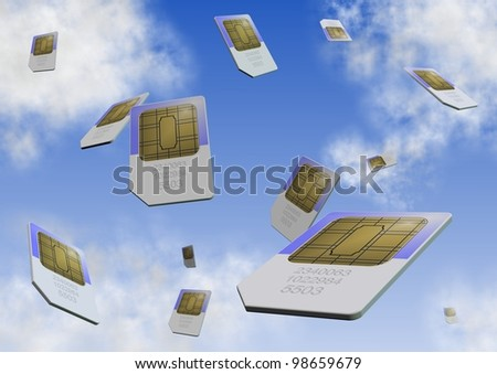 a number of sim cards falling from the sky / sim card - stock photo