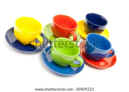 A number of tea cups