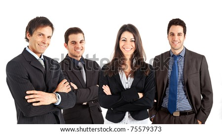 A numerous group of businessmen and businesswomen isolated on white. - stock photo