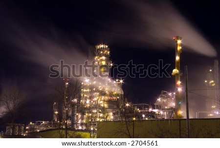 A oil refinery at night