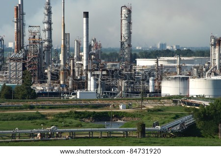 A oil refinery on the mississippi river near the gulf entrance - stock photo