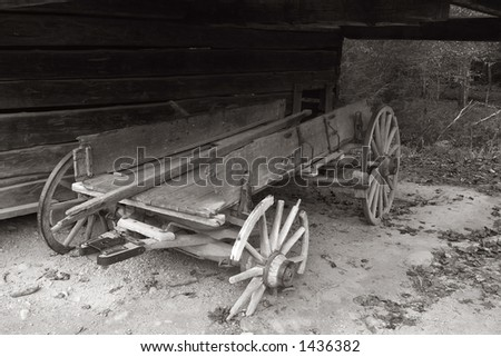 A old abandoned wagon in the smoky mountains - stock photo