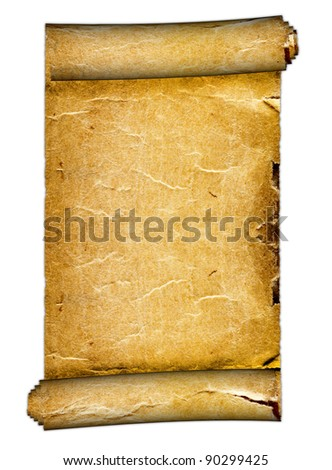 a old Blank Scroll on the white backgrounds - stock photo