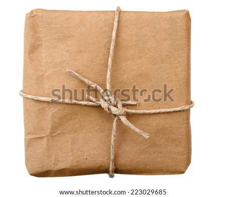 A old brown parcel isolated white  - stock photo